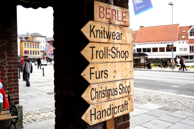 Signs outside of Bryggen